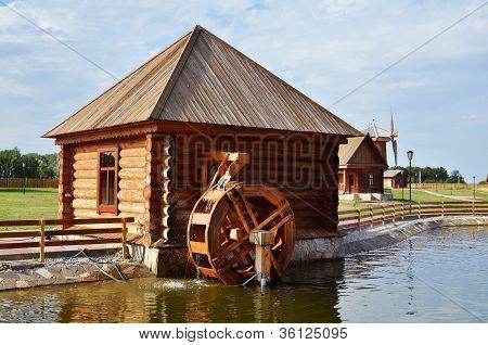 Working Water Mill In Russian Village
