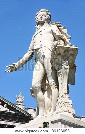 Statue Of Wolfgang Amadeus Mozart In Vienna