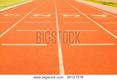 Finish Line In Tartan Athletic Track