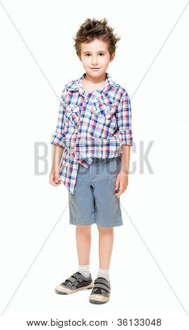Naughty Little Boy In Shorts And Shirt