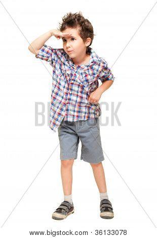 Little Boy Seeking With Visor Hand