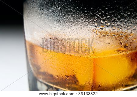 Closeup Macro Misted Glass Of Whiskey