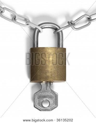 Padlock With Key And Chains