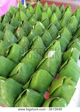 Nasi Lemak Wrapped With Banana Leaf