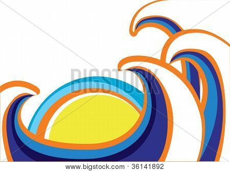 Abstract Sea Waves Poster. Color Illustration On White