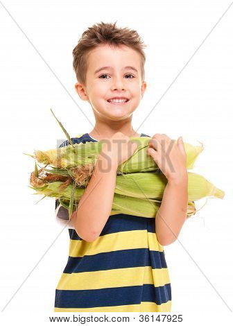 Little Boy Holding Corn On The Cob
