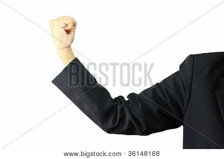 Woman Hand Business In Fist Isolated On White