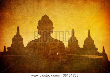 Vintage Image Of Buddha Statue At Borobudur Temple, Java, Indonesia.