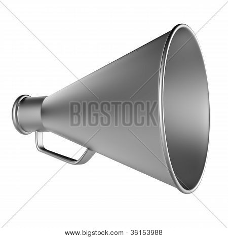 3D Bullhorn... Retro megaphone in a aluminium color isolated on white background.