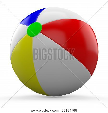 3D beach ball isolated on white background.