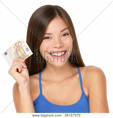 Woman Holding Euro Money Note