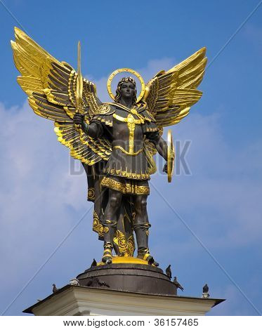 Archangel Michael Saint Patron Of Kiev In Independence Square, Kiev