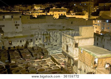 Leather Tannery At Night