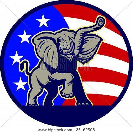 Bandera de elefante republicano mascota Usa
