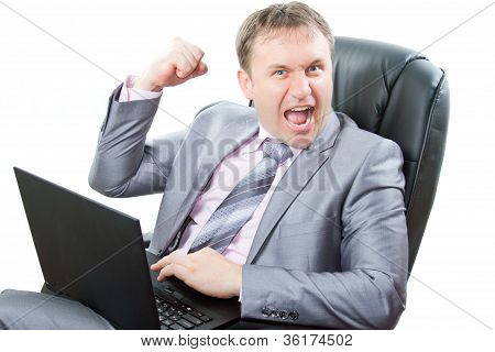 Successful Man With Laptop Showing Thumbs And Cry On White Background.business And Finance. More Of