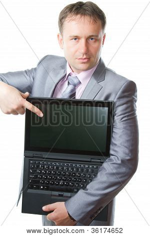 Portrait Of Handsome Business Man  With Notebook On White Background . Business And Finance. More Of