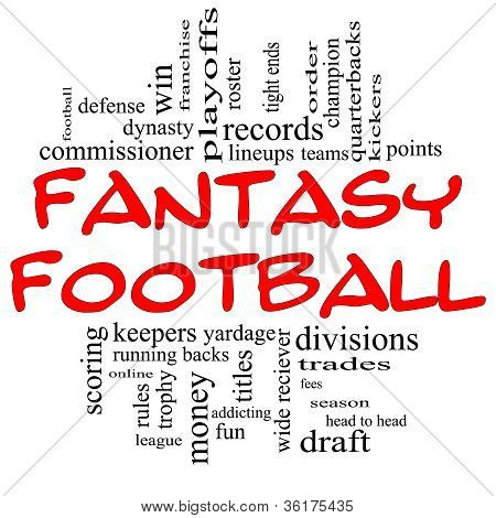 Fantasy Football Word Cloud Concept In Red & Black