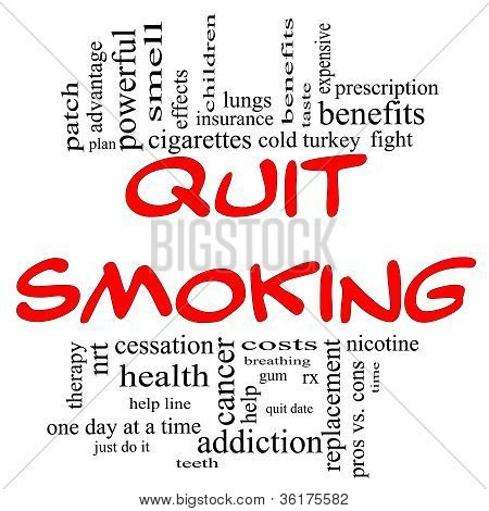 Quit Smoking Word Cloud Concept In Red & Black