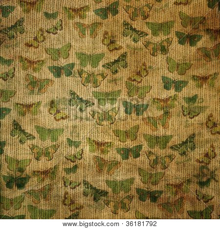vintage grungy fabric texture background with butterflies