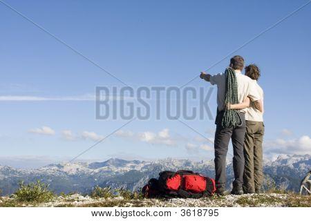 Mountaineers On Mountain Peak