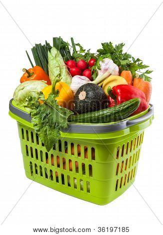 Vegetable Groceries In Shopping Basket