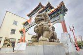 Постер, плакат: Китайские Foo собаки пары на Портленд Орегон Chinatown ворота
