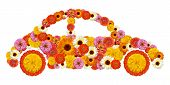 pic of beetle car  - Floral car shape hippie beetle on a white background - JPG