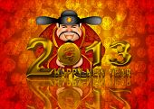 foto of chinese new year 2013  - 2013 Happy New Year Chinese Money Prosperity God Holding Round Gold Dragon Coin Illustration - JPG