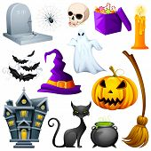 stock photo of spiderwebs  - vector illustration of collection of Halloween icon set - JPG
