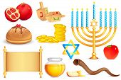 pic of sukkot  - vector illustration of collection of Jewish holy object - JPG