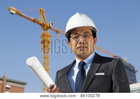 Young Architect Standing Front Of A Building Site