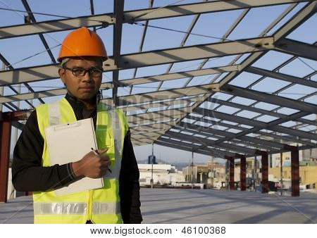 Engineer Construction Under New Building Site