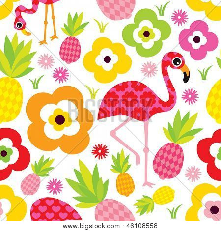 Seamless exotic pineapple and flamingo kids illustration summer background pattern in vector