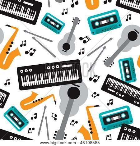 Seamless jazz music instrument illustration background pattern in vector
