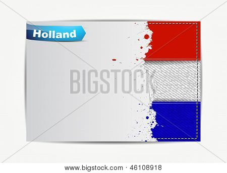 Stitched Holland Flag With Grunge Paper Frame For Your Text.