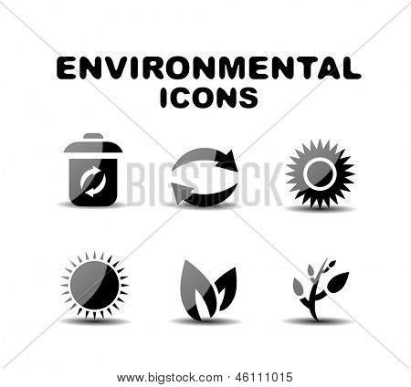 Black glossy environmental vector icon set