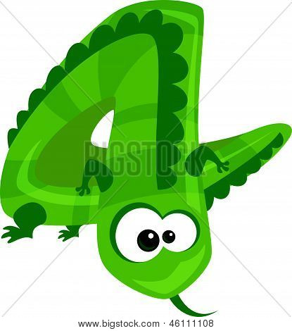 Number 4 cartoon funny lizard