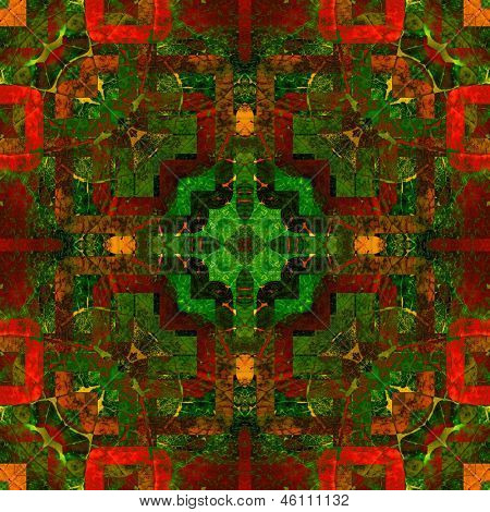 art eastern national traditional pattern, background in red, yellow and green colors