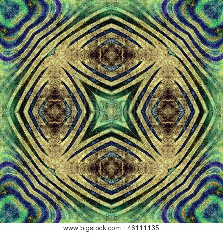 art eastern national traditional pattern, background in sepia, green and blue colors