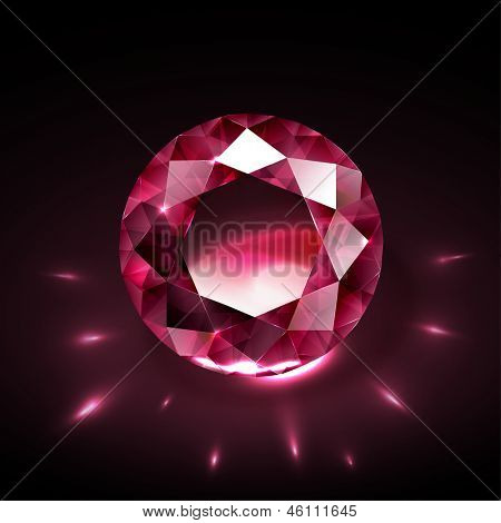 Realistic shiny ruby on black background with light reflections - eps10