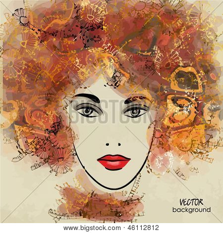 art colorful sketching beautiful girl face on sepia background in vector