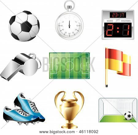 soccer icons detailed vector set