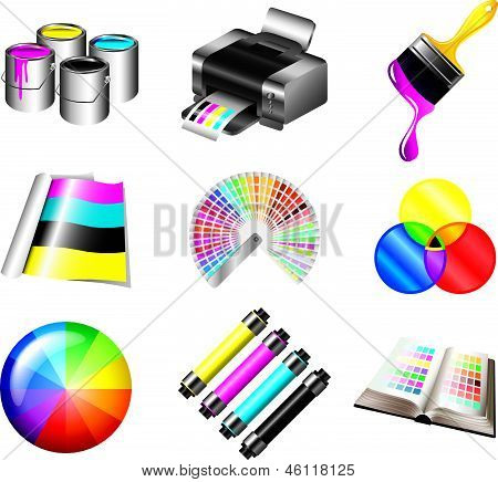 printing and CMYK colors icons