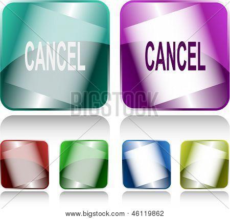 Cancel. Internet buttons. Raster illustration.