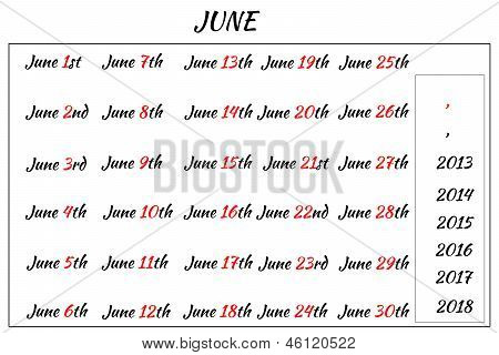 June Month Dates