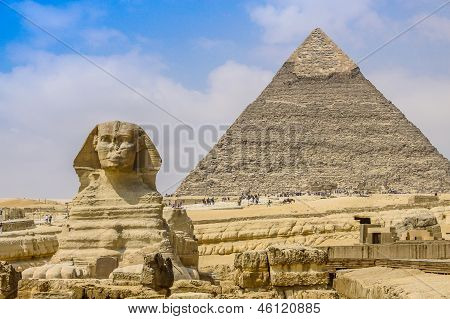 Sphinx And The Great Pyramid In The Egypt