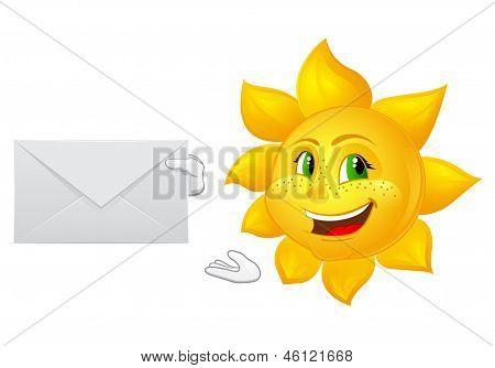 Postman Cartoon Sun With Mail