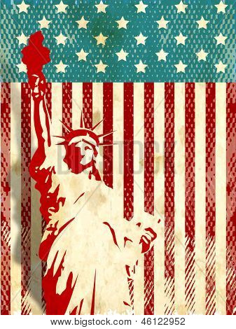 Vintage flyer, poster or background for American Independence day with statue of liberty.