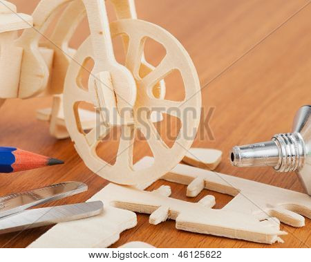 Wooden Bicycle Toy - Woodcraft Construction Kit