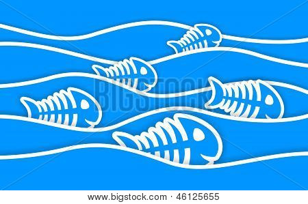 Blue Fish Bone Stickers And Waves